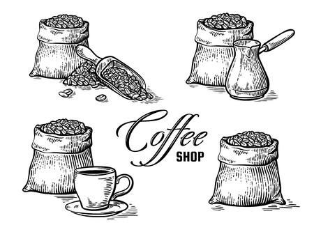 set of coffee beans in bag and other elements in graphic style vector illustration Illustration