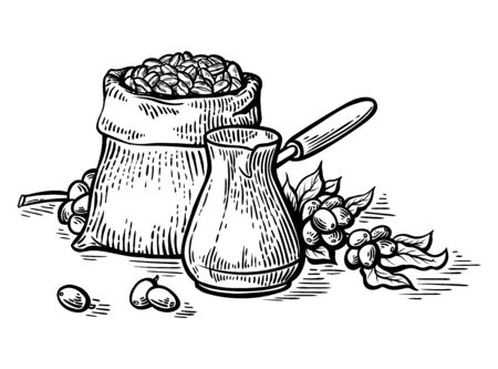 coffee beans in full bag and coffeepot in graphic style vector illustration Illustration