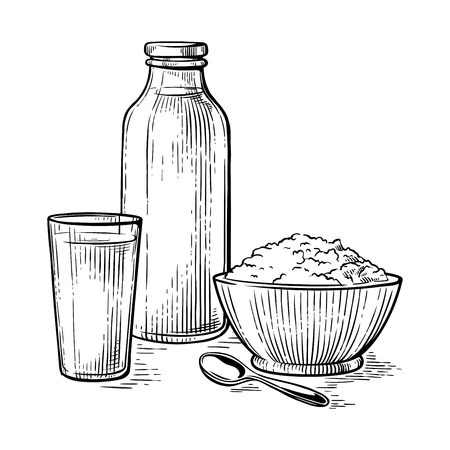 healthy Breakfast drawing sketch milk glass crumbly curd milk bottle vector illustration