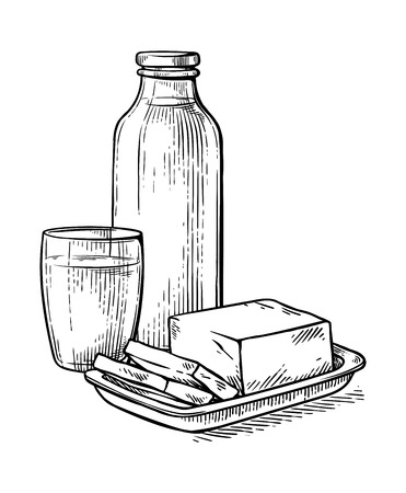 healthy Breakfast drawing sketch milk glass cheese milk bottle vector illustration
