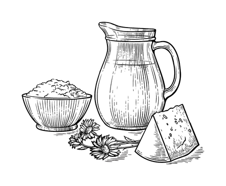 hand-drawn picture of a jug of fresh milk bowl curd and cheese next to the flowers vector illustration