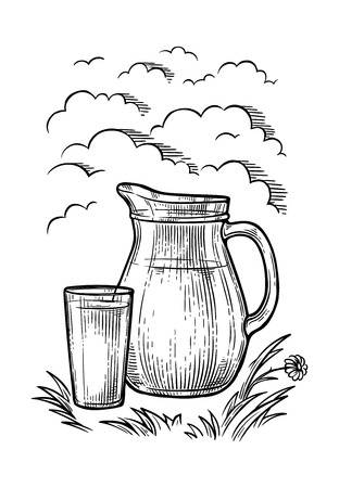 hand-drawn picture jug and glass of milk on the grass against the sky with clouds vector illustration