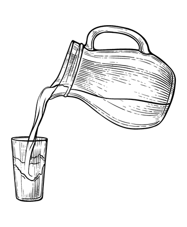 Sketch water or milk splash from glass jug. Vector illustration