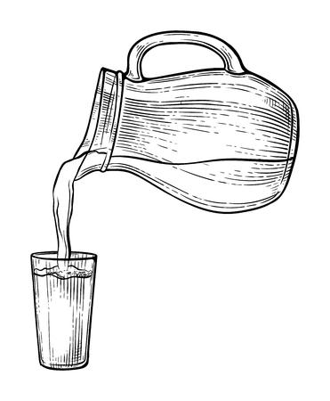 Esquissez les éclaboussures d'eau ou de lait d'une cruche en verre. Illustration vectorielle Vecteurs
