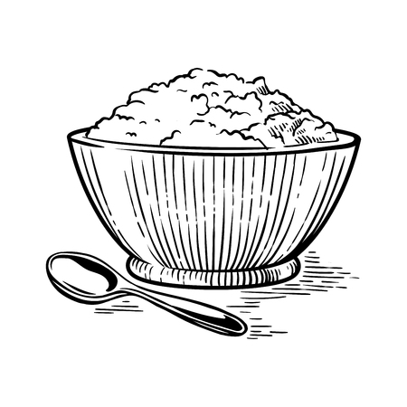 Hand drawn fresh slice sketch full Cup crumbly cottage cheese vector illustration Ilustrace