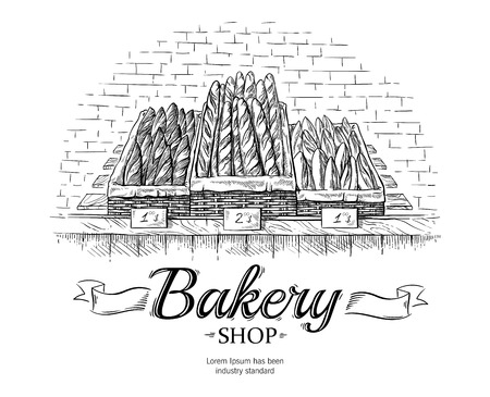 fresh baguettes in the wooden basket on showcase vector illustration
