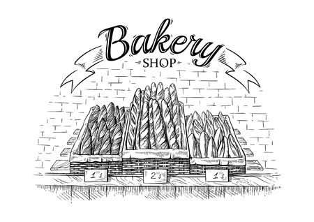 fresh baguettes in the wooden basket on showcase vector illustration