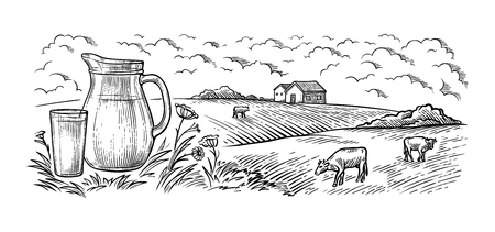 healthy Breakfast drawing sketch glass milk bottle iron can cup field cow vilage vector illustration Ilustrace