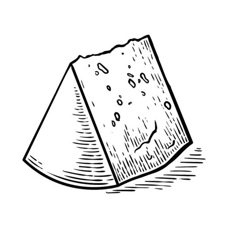 Hand drawn vector sketch chunk of cheese. Black and white vintage illustration. Isolated object on white background illustration