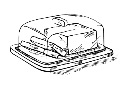 Hand drawn sketch slice of butter on the wooden broad vector illustration
