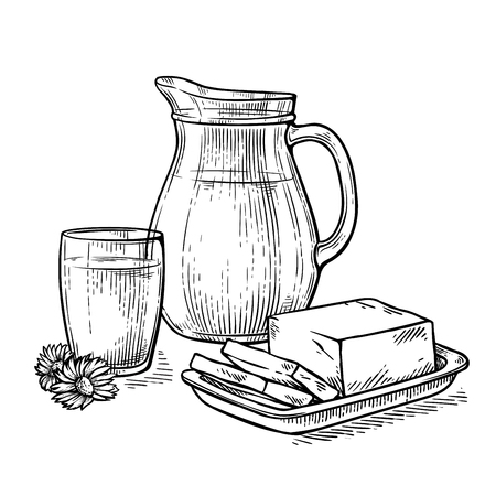 still life jug and a glass of milk next to the cheese and flower vector illustration