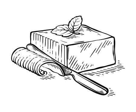 Hand drawn fresh slice sketch piece of butter with knife vector illustration Иллюстрация