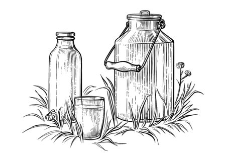 healthy Breakfast drawing sketch glass milk bottle iron can cup vector illustration Stock Photo