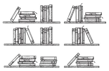 sketch bookshelf. collection standing lying books vector illustration