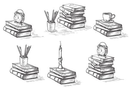 hand drawn sketch stack books set clock pen and candle isolated on white background vector illustration.