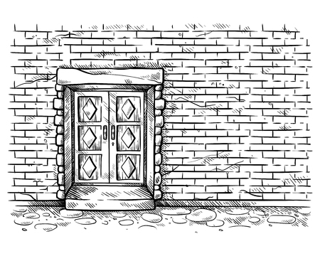 sketch hand drawn old double rectangular wooden door in brick wall vector illustration