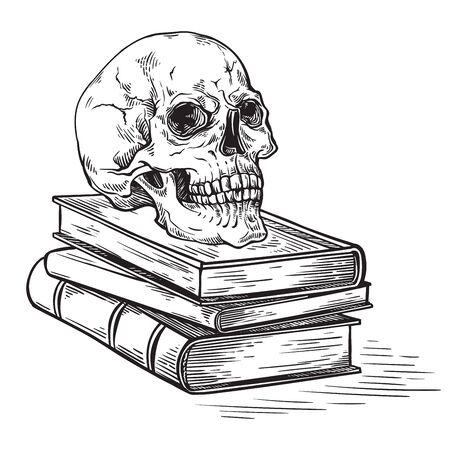 handmade sketch death concept human skull on old books on dark background vector illustration