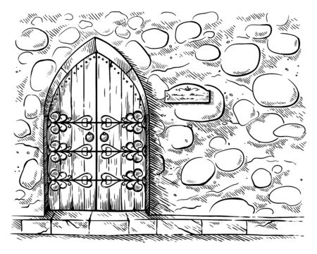 sketch hand drawn old double arched wooden door in stone wall castle vector illustration