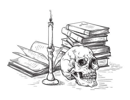 Cráneo humano del concepto de la muerte del bosquejo hecho a mano en libros viejos cerca de la vela en la ilustración del vector del fondo oscuro Ilustración de vector