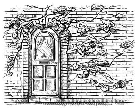 sketch hand drawn old double arched wooden door in brick grape braided wall vector illustration
