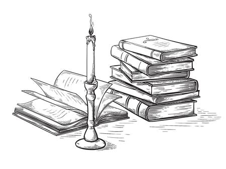 Boceto hecho a mano concepto de muerte libros antiguos cerca de la ilustración de vector de vela