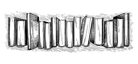 hand drawn sketch top view on library books vector illustration