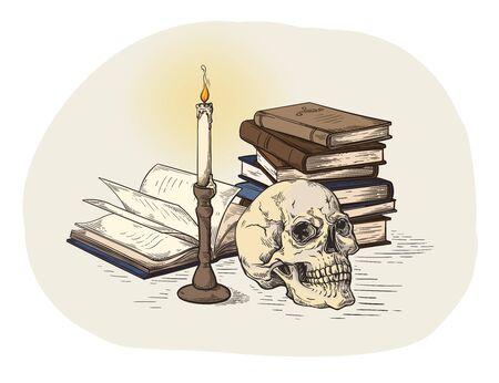 fatto a mano colorull schizzo concetto di morte teschio umano su vecchi libri vicino a candela su sfondo scuro illustrazione vettoriale Vettoriali