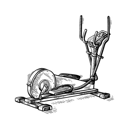 sketch hand drawn gym equipment machine elliptical vector illustration