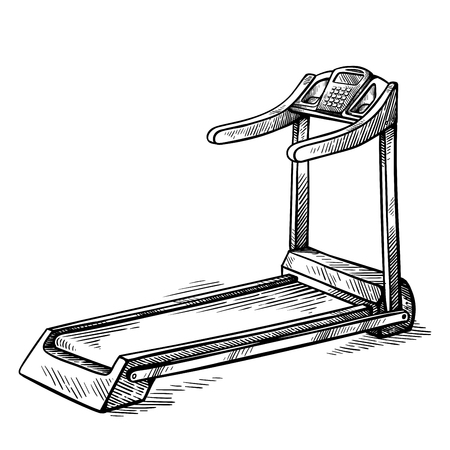 sketch hand drawn gym equipment machine treadmill vector illustration
