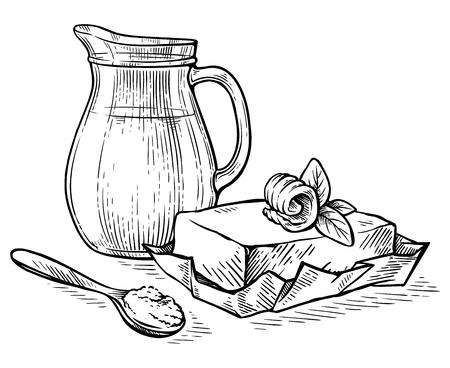 croquis dessinés à la main cruche avec du lait et du beurre sur papier vector illustration Vecteurs
