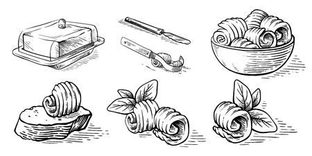 schizzo disegnato a mano schizzo disegnato a mano pane al burro illustrazione vettoriale di elementi culinari butterdish