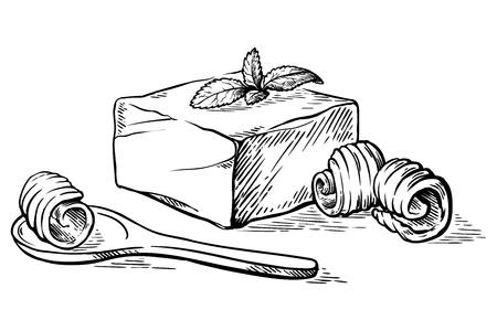 Croquis dessinés à la main Bloc de beurre et cuillère avec illustration vectorielle curl