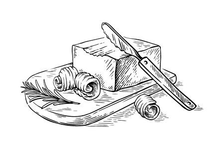 schets hand getrokken krullen van boter op houten snijplank vectorillustratie