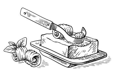 schizzo disegnato a mano Blocco di burro e coltello ondulato sul piatto e illustrazione vettoriale di riccioli Vettoriali