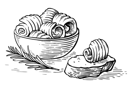 sketch hand drawn Butter curls in bowl and bread vector illustration