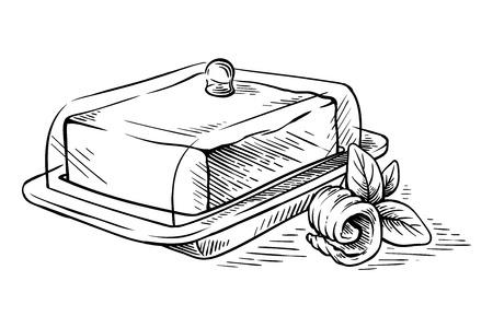 schizzo disegnato a mano Blocco di burro sul piatto e riccioli illustrazione vettoriale Vettoriali
