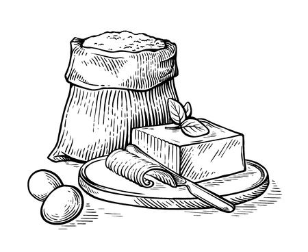 Skizze handgezeichneten Sack mit Mehl und Eiern und Butter auf Holzbrett-Vektor-illustration