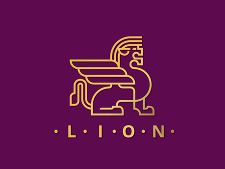 lion with wings: Gold Lion with Wings Logo Template