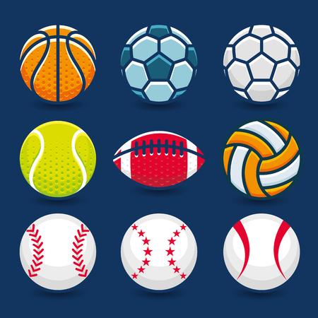 sport equipment: Set of Sports Balls.Vector Illustration.