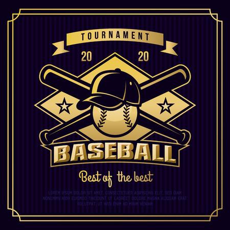 shield: Insignia b�isbol, logotipo, torneo emblema de plantilla de estilo retro vintage.