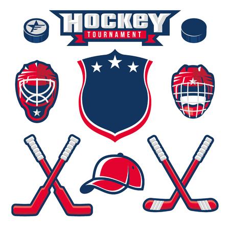 Hockey logo, emblem, label, badge design elements