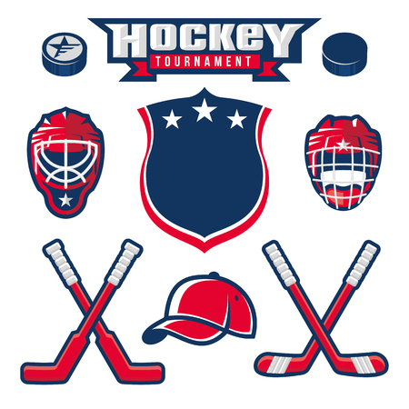 Hockey logo, emblem, label, badge design elements Vectores