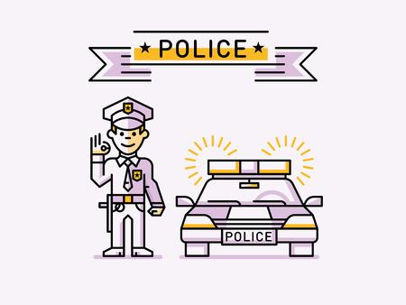Policeman on Patrol Car