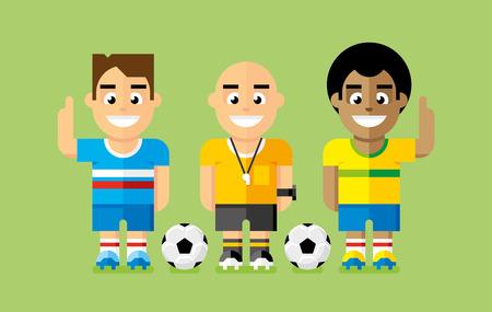 arbitro: Los jugadores de fútbol, ??y árbitro Vectores
