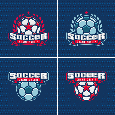 Soccer championship logo set