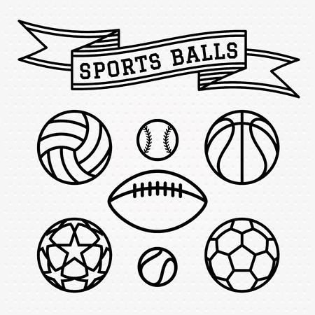 soccer: Set of Sports Balls.Line Vector Illustration.