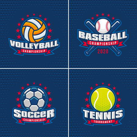 Set van Sport Badge Logo Design Templates Logo
