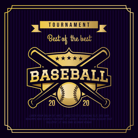 Baseball badge, logo, emblem tournament in vintage retro style template.