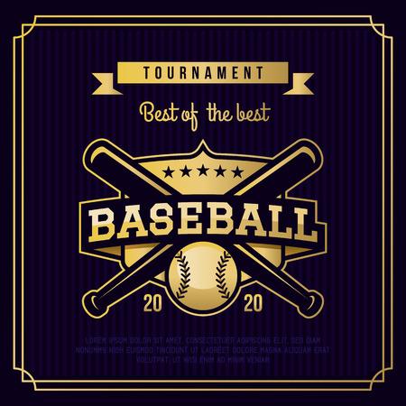 Baseball badge, logo, emblem tournament in vintage retro style template. Vectores