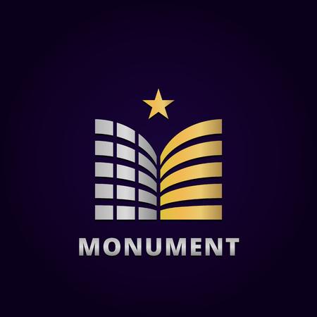 Modello astratto di disegno edificio logo, emblema modello modificabile per il vostro business.